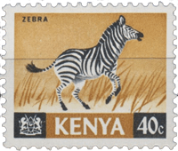 Postage stamp from Kenya with a galloping zebra
